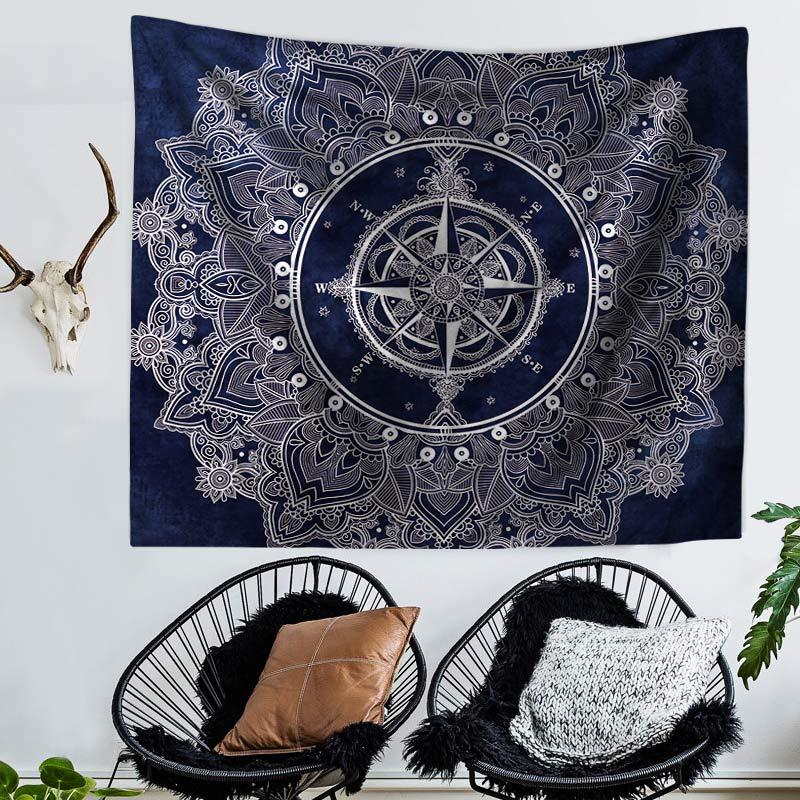 Tapestry Macrame Wall Hanging Hippie Boho Decor Wall Tapestry Mandala Compass Clock Wall Cloth Tapestries Carpet Throw Rugs Yoga in Tapestry from Home Garden