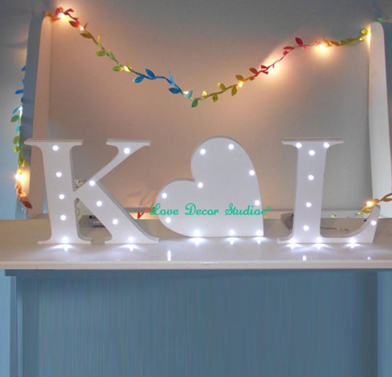 Large 3 piece Beautiful painted initials LED letter NO INCLUDED mr&mrs sign center heart added lights Wedding decoration gift