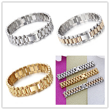 Hot Fashion 15mm Luxury Mens Womens Watch Band Bracelet in Silver or Gold Stainless Steel Strap Cuff Bangles Jewelry Gift 8.66″