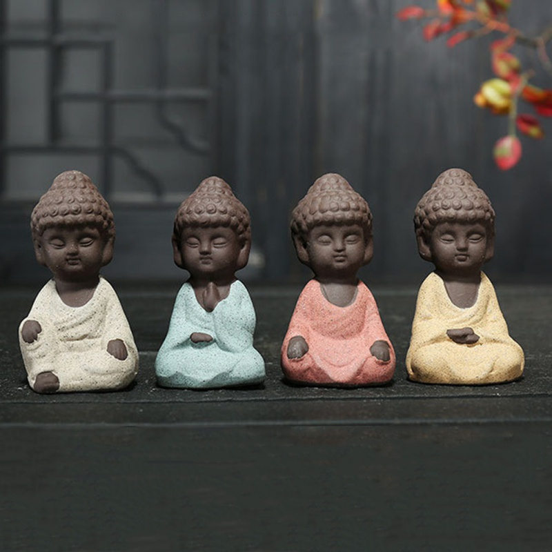 Small Buddha Statue Monk Figurine Tathagata India Yoga Mandala Tea Pet Purple Ceramic Crafts Decorative Ceramic Ornaments Decor