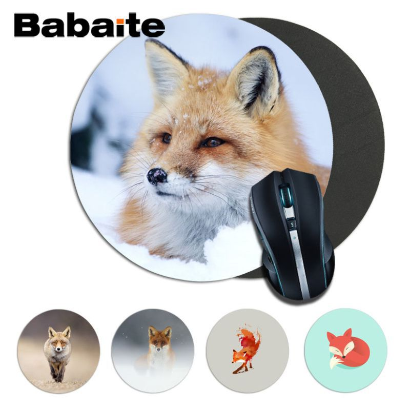 Babaite Vintage Cool Fox Gamer Play Mats Comfort Mousepad Size For 20*20cm 22*22cm Round Mousepad Rubber Rectangle Mousemats
