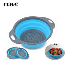 FEIGO 2pcs/set Foldable Strainer Storage Basket Collapsible Colander Sets Fruit Vegetable Washing Drainer Kitchen Baskets F707