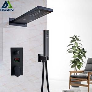 Image 3 - Luxury Bath Shower Mixer Kits Digital Display Wall Mounted  Rain Waterfall Shower Head Chrome Shower Faucet with Handshower