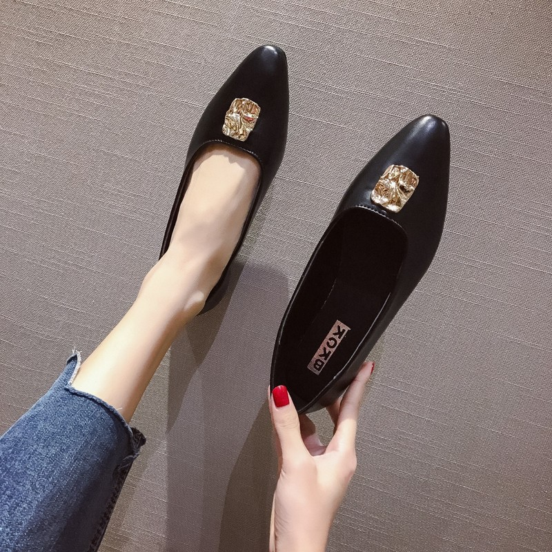 Women 39 s single shoes 2019 new fashion wild pointed retro comfortable soft bottom lightweight casual low heel women 39 s shoes in Women 39 s Pumps from Shoes