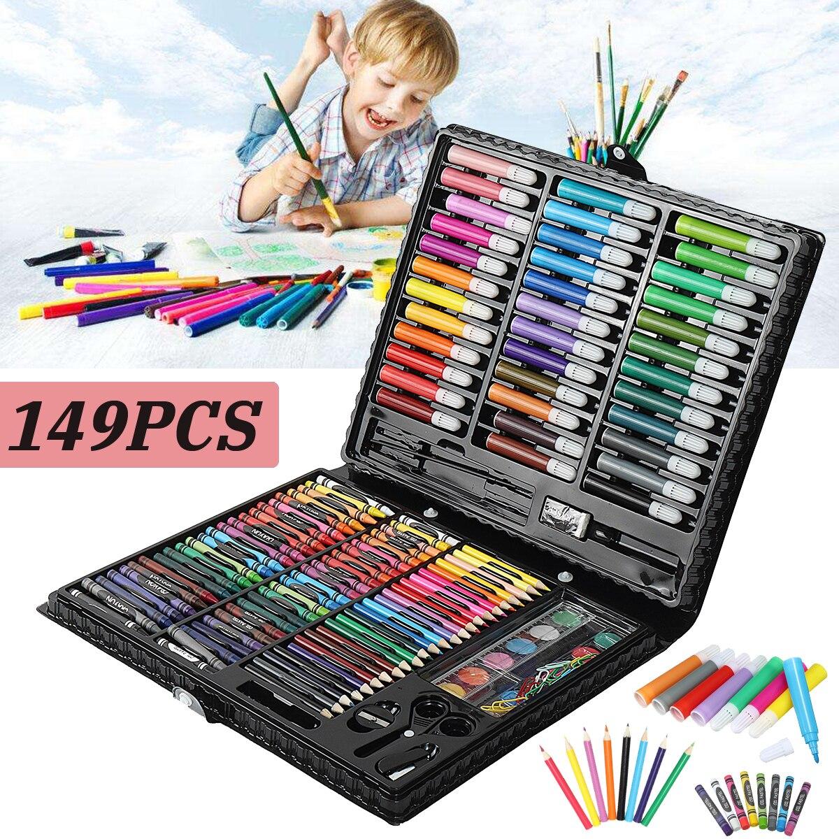 149pcs/set Complete Paint Drawing Art Kit Painting Supplies Wooden Box Set Storage Case 138 Piece Gift Pencil stanley complete painting