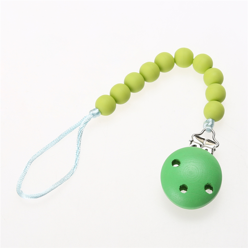 Toddler Baby Infant Soother Wood Pacifier Clips Holders Chain Leashes Cases
