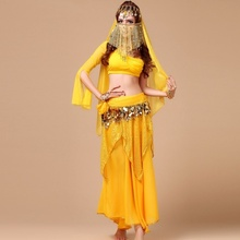 d Belly Dance Costume 5PCS/Set Top+Skirt+Waist Chain Belt+Headwear+Veil Bollywood Indian Bellydance Oriental Dancewear Vestidos