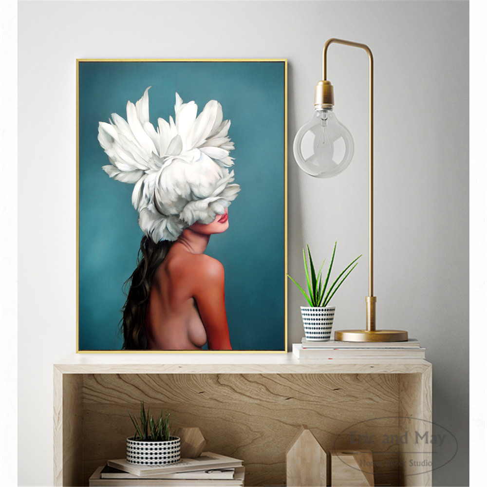 Harajuku Aesthetics Feather Women Posters and Prints Wall art Decorative Picture Canvas Painting For Living Room Home Decor in Painting Calligraphy from Home Garden