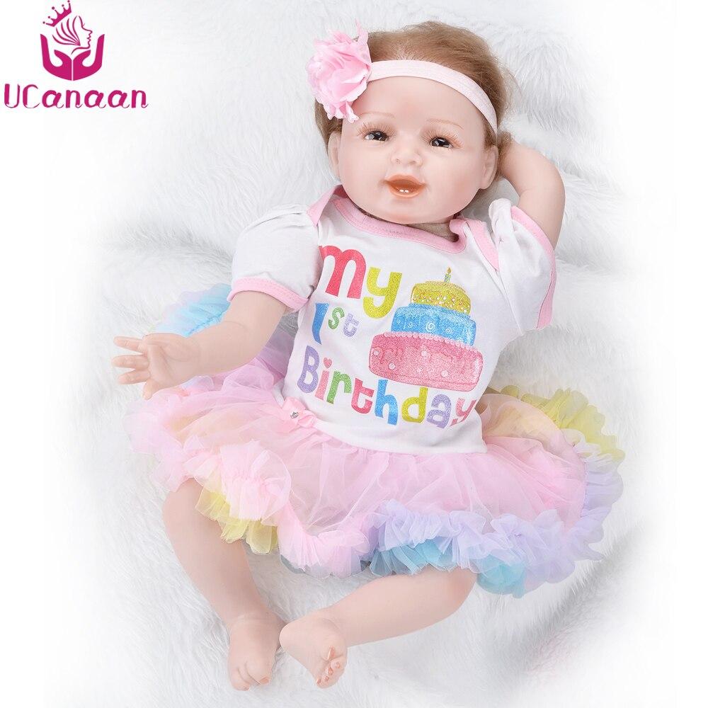 UCanaan Silicone Reborn Dolls Cute Baby Cloth Body Alive Newborn Toys Handmade Realistic Baby Born Doll For Girls 22Inch 55CM