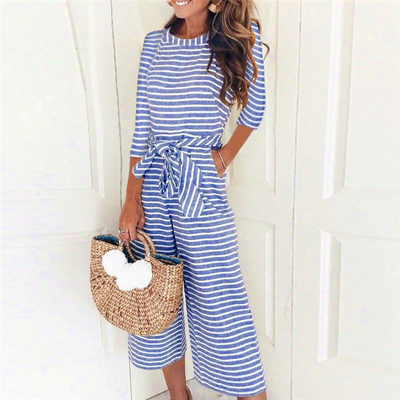 Women Autumn   Jumpsuit   2018 Fashion New Hot Sale Half Sleeve Striped Casual Clubwear Wide Leg Pants Outfit Long   Jumpsuit   F#S04
