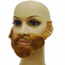 1pcs Adult Gag Toys Brown Halloween Beard Adult Men Fake Beard Mustache With Elastic Band Festival Party Supplies(China)