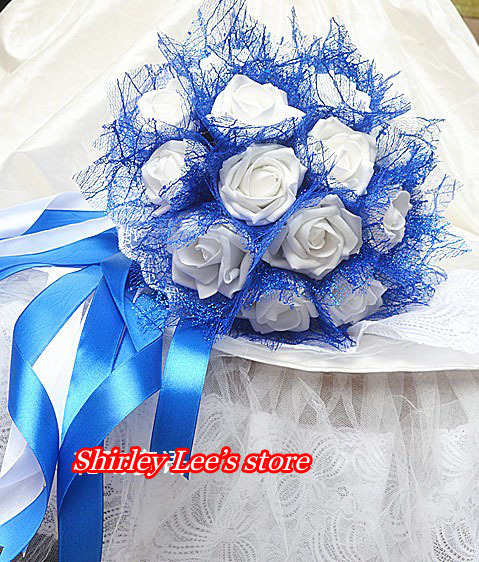 New arrival 1pc x pretty white rose wedding flowers bridal 1pc x pretty white rose wedding flowers bridal bouquets wblue net bride bouquet free shipping in artificial dried flowers from home garden on mightylinksfo