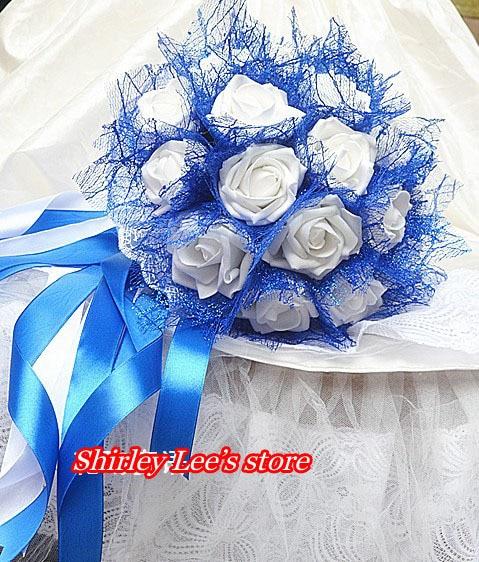 Bouquet De Fleurs Mariage Bleu Et Blanc