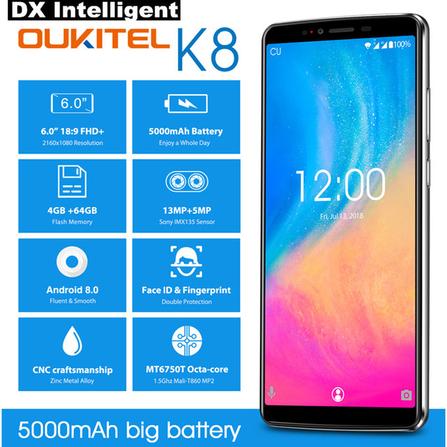 "OUKITEL K8 4GB 64GB 6.0"" FHD 18:9 Full Display Face ID Mobile Phone MT6750T Octa Core Android 8.0 13MP Dual Back Camera Touch ID"