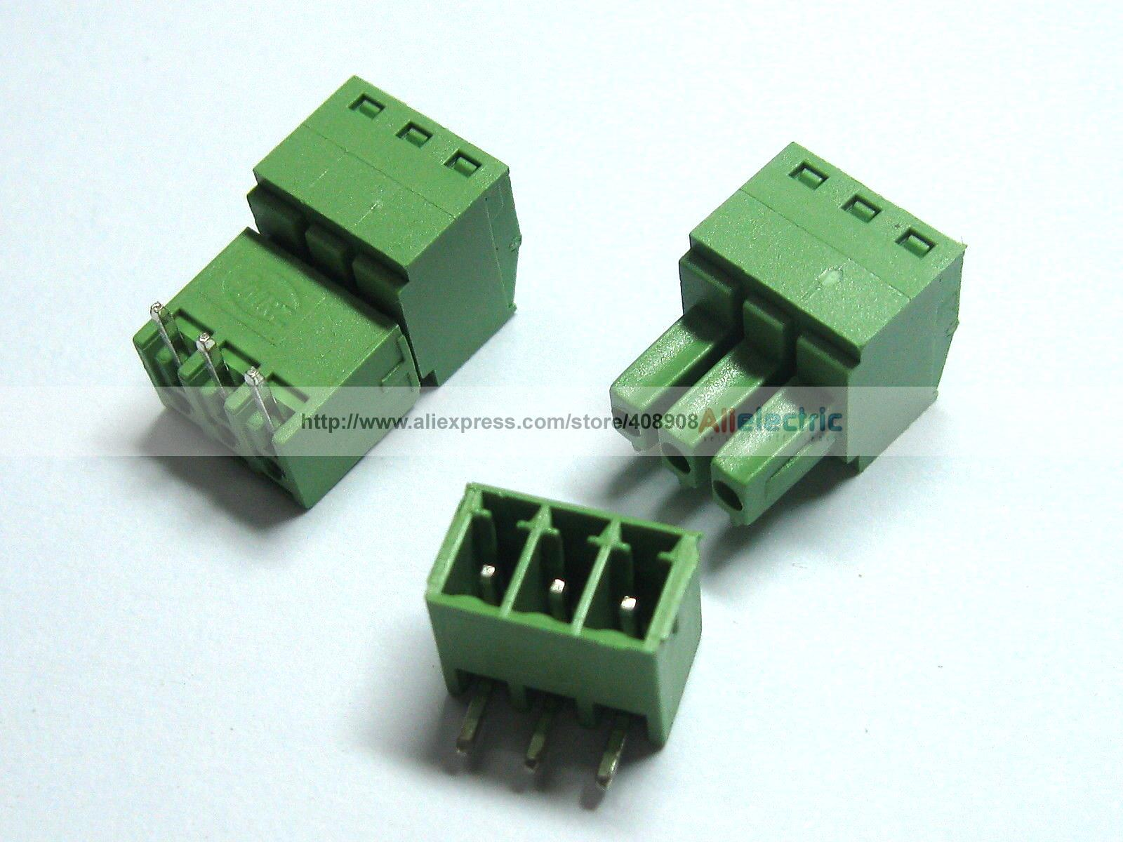150 Pcs Screw Terminal Block Connector 3.5mm Angle 3 Pin Green Pluggable Type 30 pcs screw terminal block connector 3 81mm 12 pin green pluggable type