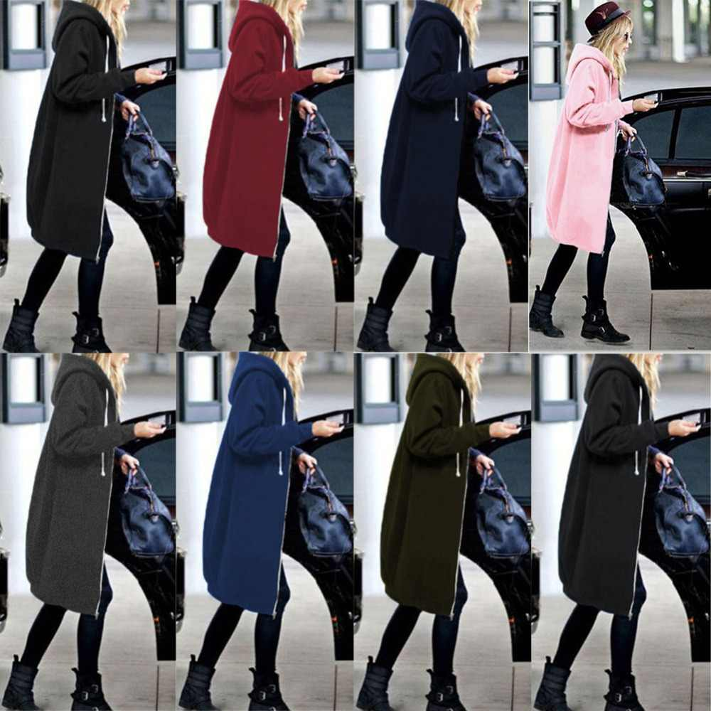 Sudadera con capucha de talla grande 5XL 2018 nueva Sudadera con capucha de otoño para mujer con cremallera larga Casual Sudadera con capucha 8 colores sudaderas con capucha