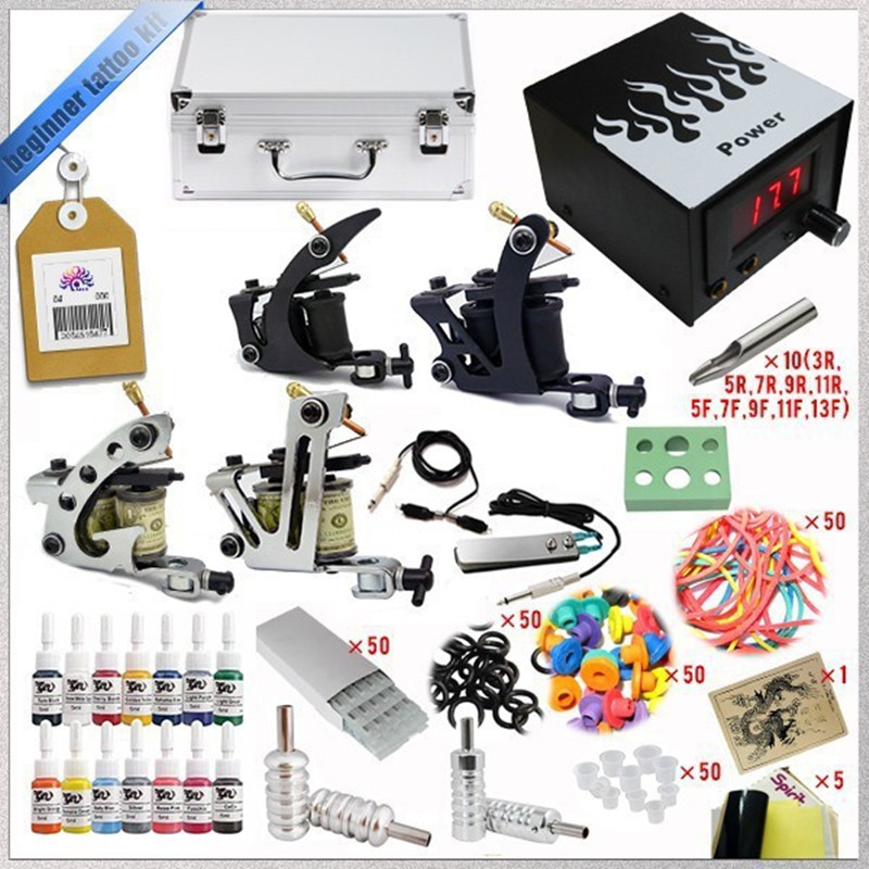 Complete Tattoo Kit 4 Guns Sets Rotary Machine Power Supply +Ink +Power Supply +Needle + CD for Beginners Body Art complete tattoo kit 4 professional tattoo machine kit coil machine guns 54 inks power supply needle grips us warehouse in stock