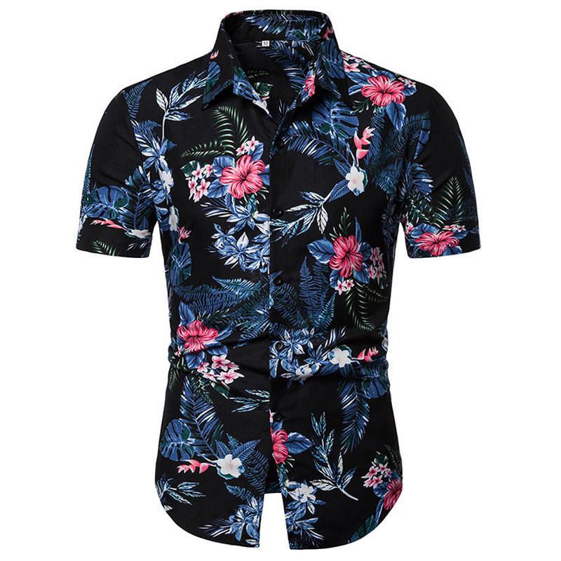2019 Men Shirt Summer Style Print Beach Hawaiian Shirt Men Casual Short Sleeve Hawaii Shirt Camisa Masculina Men Shirt