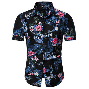 2019 Men Shirt Summer Style Print Beach Hawaiian Shirt Men Casual Short Sleeve Hawaii Shirt camisa masculina men shirt фото