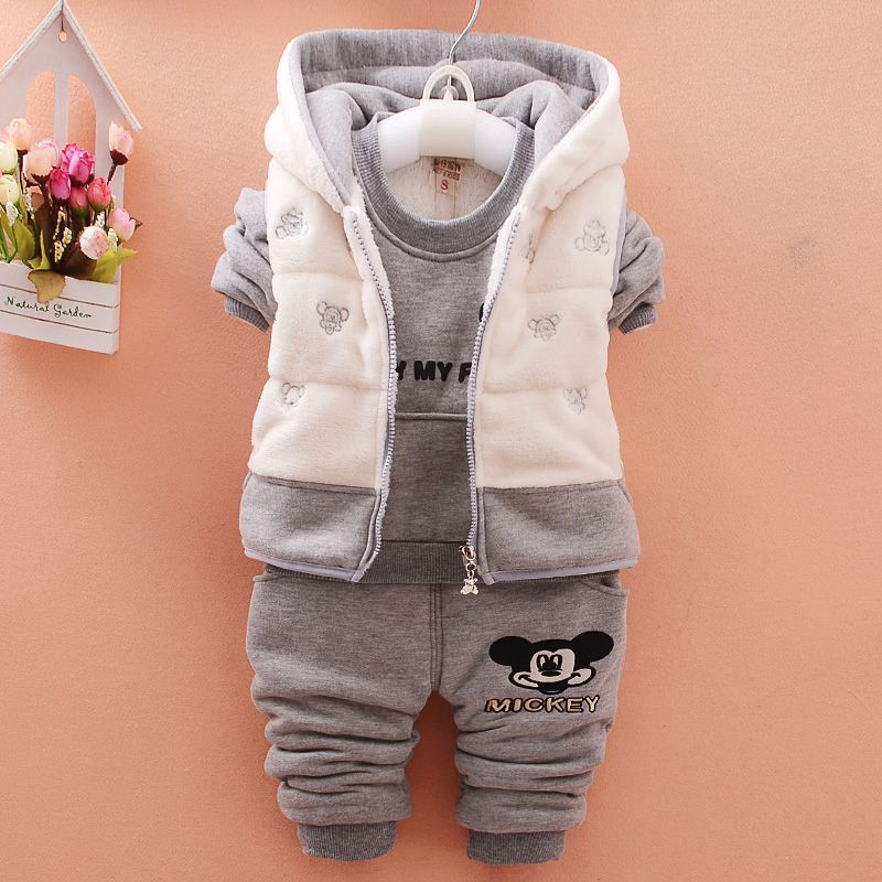 Baby Girl Suit Casual Children's Clothing Sets Winter Mickey Vest+T-shirt+Pants Kids 3pcs Suit Fluff Infant Toddler Boys Clothes стоимость