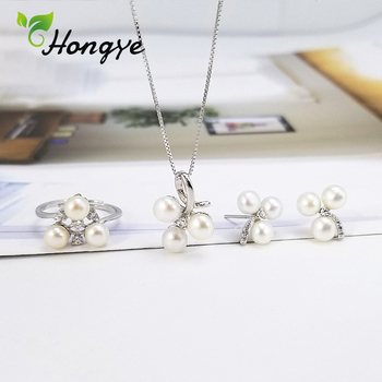 Hogye Female Silver 925 Jewelry Set Earrings Ring Cherry Fruit 2 Colors Luxury Pearl Necklaces Sweet Bridal Wedding Jewelry