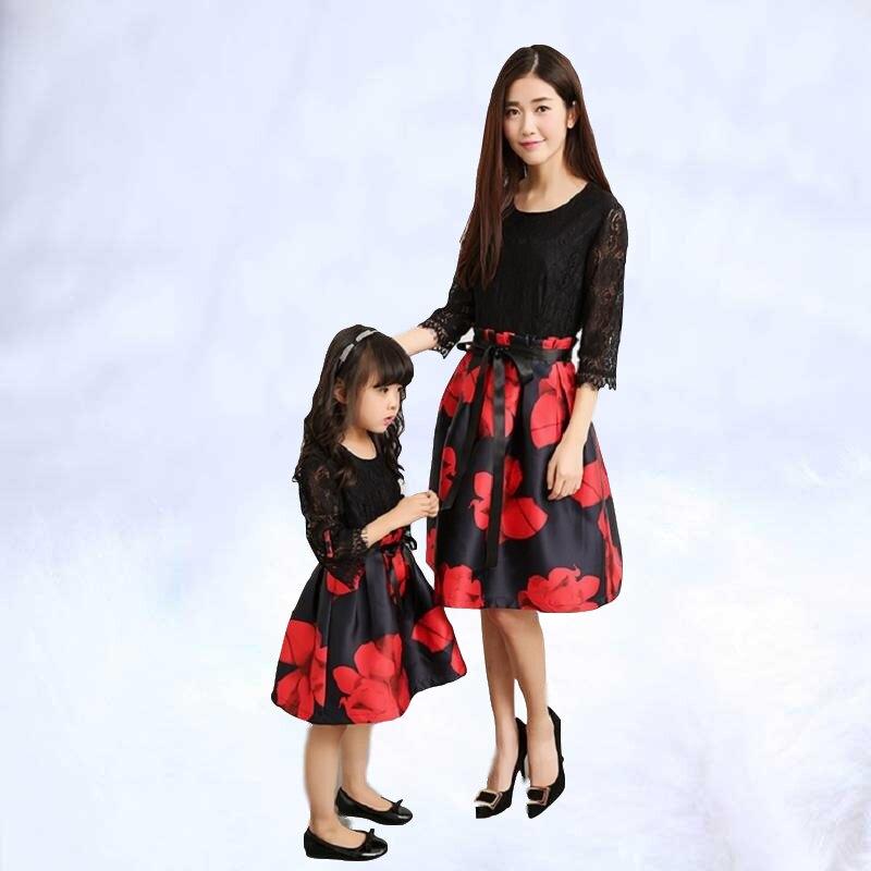 Vêtements famille Look robes photographie maman fille robe correspondant tenues femmes fille bébé vêtements fête maman mère et moi