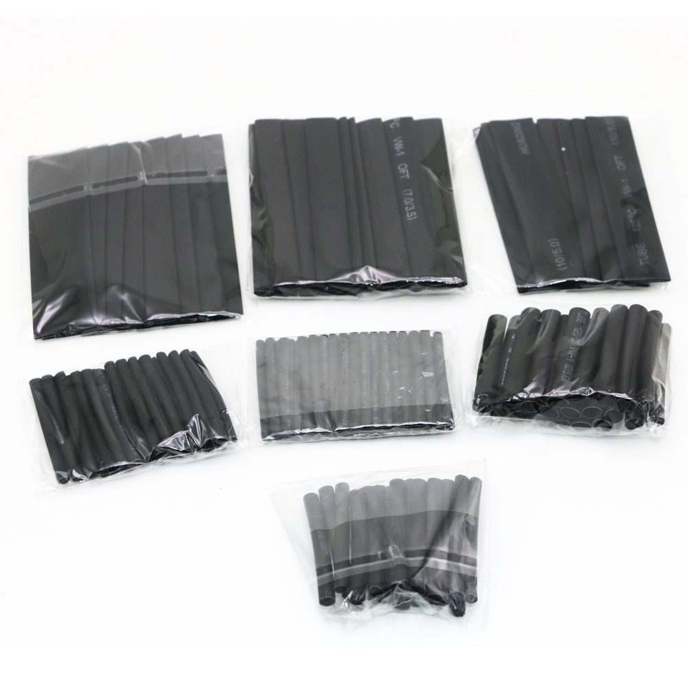 127Pcs Black Heat Shrink Tubing Tube Cable Sleeves Wrap Wire Set 7 Size For Rc DIY Drone