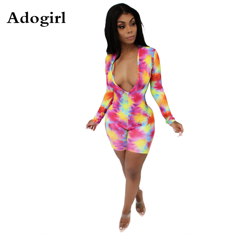 Tie-dye Print Women Sexy   Jumpsuit   Deep V Neck Long Sleeve Front Open Skinny Bodycon Clubwear Short Night Club Party Playsuits