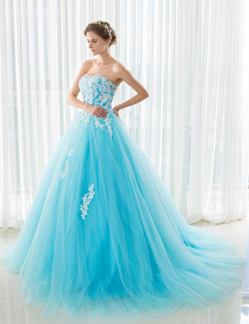 ILoveWedding Azul Vestidos de Novia con Tren Real del Hombro Apliques Vendaje Ve