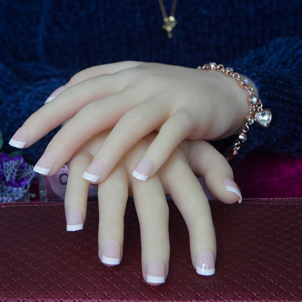 Fashion White French Nails 24 Pcs/set Classical Full Cover Short ...