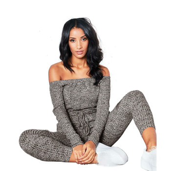 S-2XL Black Gray Red Autumn Knitted Jumpsuit Plus Size Women Sexy Long sleeve Slash Neck Belted Skinny Jumpsuits