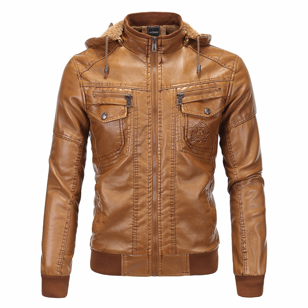 2017 New men's clothing leather clothing plus velvet thermal leather clothing classic sheepskin with a hood plus size clothing