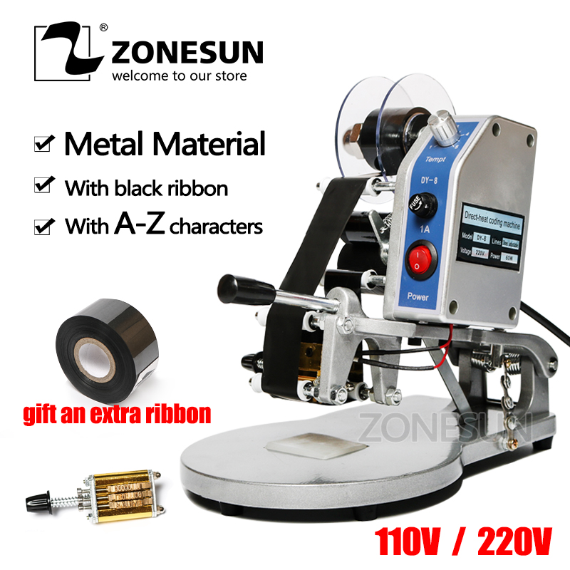 ZONESUN Manual Hot Stamping Expiry Date Coding Printer Thermal Ribbon Printing Machine Aluminium Foil Plastic Bags Code Machine