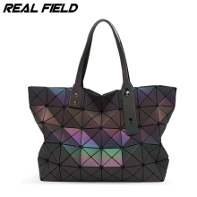 Real Field Women Tote Bags Geometry Sequins Mirror Laser Plain Folding Luminous Handbags PU Casual Ladies Shoulder Handbag 057