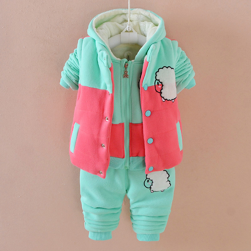 Sheep Pattern Baby Girl Boys Winter Warm Suit 3 Pieces Long Sleeve Casual Set Thicken Hooded Hoodies Set TZ006 warm thicken baby rompers long sleeve organic cotton autumn