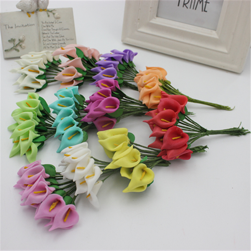 Free Shipping 2.0cm Head Multicolor Handmade Pe Foam Calla Lily Flower Bouquet Scrapbooking Artificial Lily Flowers 12pcs/lot