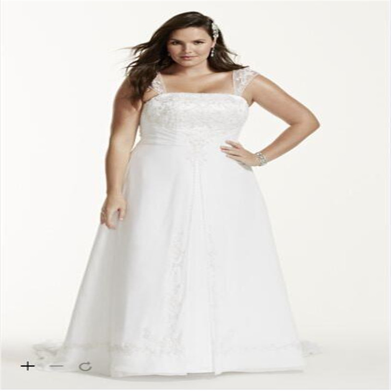 A Line Plus Size Wedding Dress With Cap Sleeve Bride Gown 9v9010