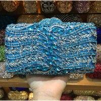 Elegant Women blue/silver/purple/black Crystal Clutch Evening Minaudiere Bags Metal Hard Case Wedding Bridal Handbag gold Purse