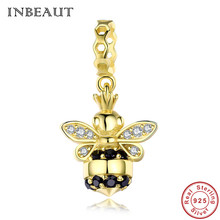 INBEAUT Women 925 Sterling Silver Queen Bee Bracelet Gold-color Cute White Black CZ Honeybee Charm Beads for Pendant Necklace