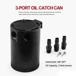 Универсальный Гонки с толку 3-Порты и разъёмы маслоуловитель/Танк/воздушно-масляный сепаратор черный
