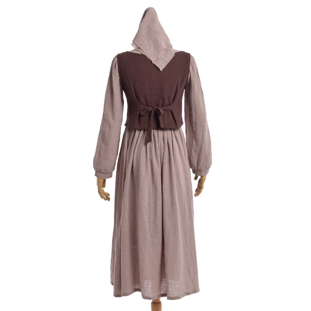 Women Medieval Dress Vintage Prairie Pastoral Rural Style Farm Maid Pirate Serving Wench Corset Costume