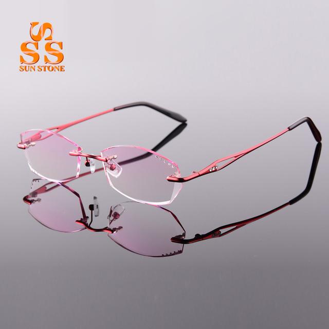 Marca das Mulheres Elegante Gradiente Sem Aro Óptico Óculos Com Dioptria Diamante De Corte Businiss Miopia ou Presbiopia Eyewear F140