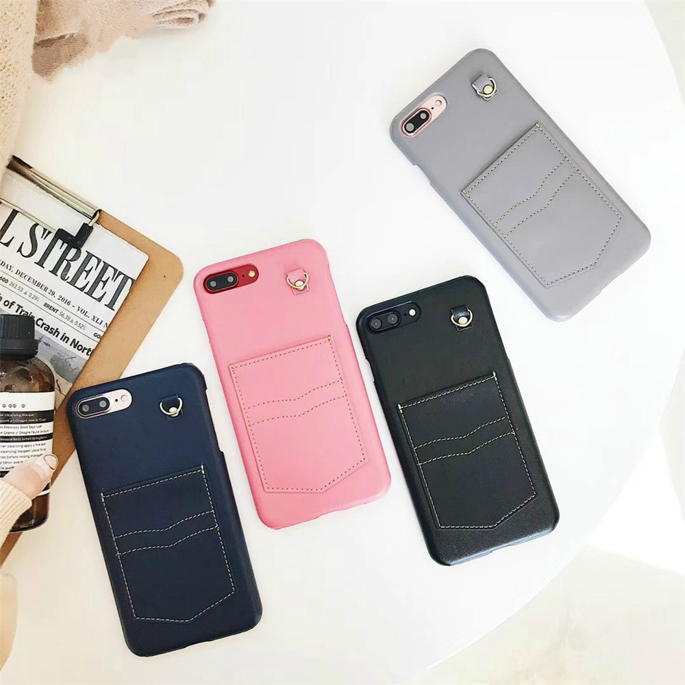Solid Color Denim Pants Pocket Phone Case For iPhone 7 7Plus Multiple Colors Hard PC For iPhoe 6 6s 8 Plus X Case Black Cover ...