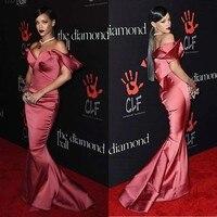 Прибытие Сексуальная атласная юбка годе платья знаменитостей с открытыми плечами в пол без рукавов платье для красной дорожки