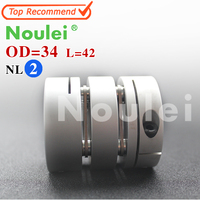 Noulei D34mm L42mm Inner 6 35X10mm Flexible Couplings Aluminium CNC Stepper Motor Flexible Shaft Coupler 6