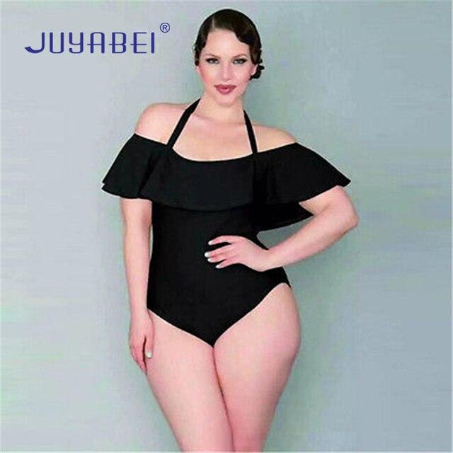 f2a4ccddf0 JUYABEI Sexy Plus Size Large Black Velet One-piece Swimwear Off Shoulder  Ruffled Monokini Halter Flounce Swim Beachwear Swimsuit