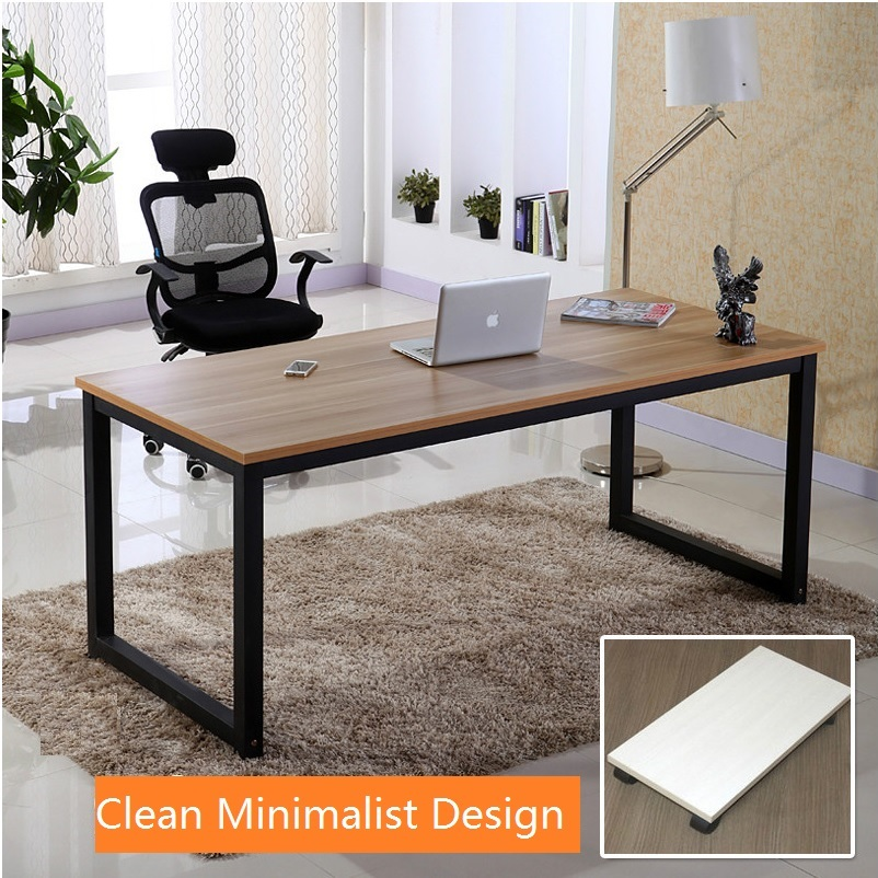Office Desk With Metal Frame And Wood Grain Finish 75cm Height 180