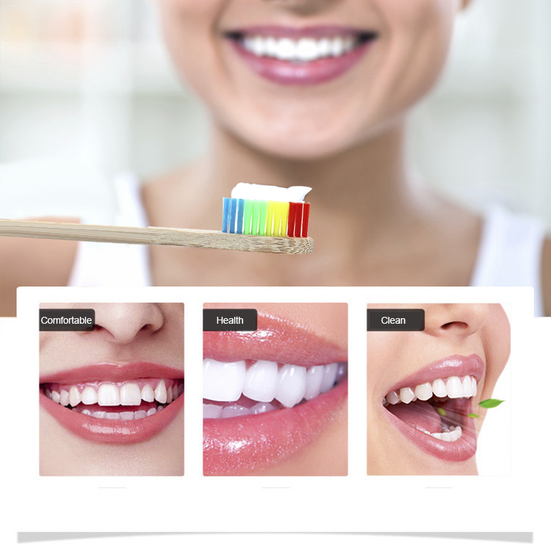 1pc Toothbrush Colorful Head Bamboo Environment Wooden Rainbow Bamboo Toothbrush Oral Care Soft Bristle Toothbrush