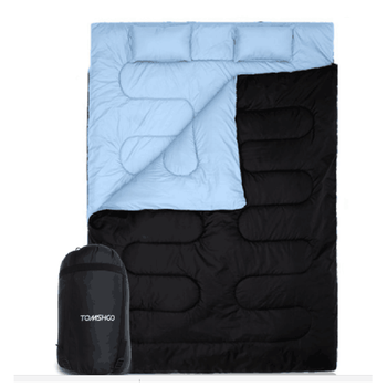 """TOMSHOO 86""""x60"""" Double Sleeping Bag Outdoor Camping Hiking Sleeping Bag with 2 Pillows camping Sleeping bags air bed Adult Fast"""
