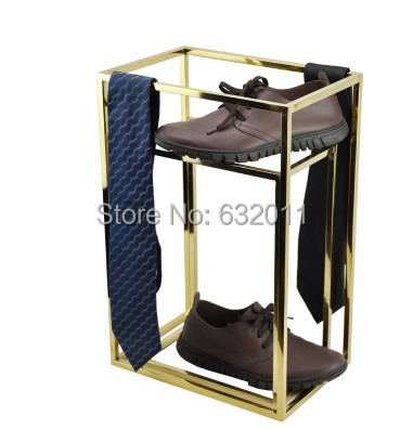 Gold surface shoes necktie scarves holder showing stand Multi-functional Metal merchandise display rack